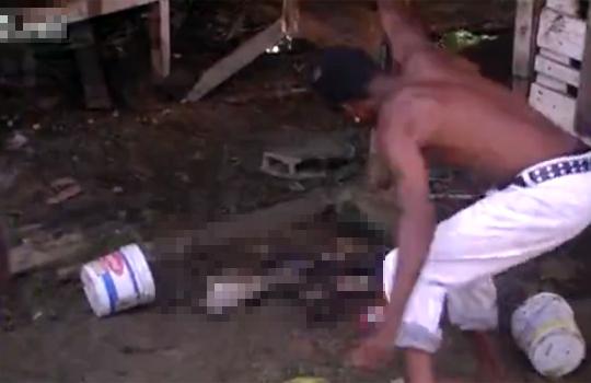 【グロ動画:犬】飼い主を噛んだ犬を棒で殴り殺して喜ぶお猿さん・・・