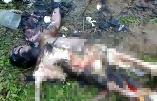 【閲覧注意:死体】焼き殺されたしたいには肉があんまり残ってない・・・