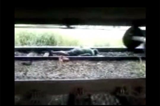 【グロ注意】電車の下に人が!無事でよかった~と思ったら完全に轢かれてた;