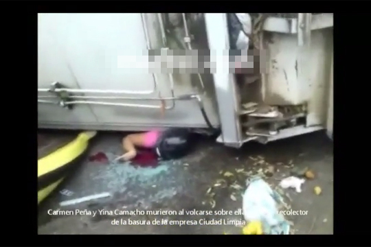 【閲覧注意】ゴミ収集車に挟まれ潰された女性・・・