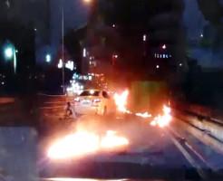 【閲覧注意】目の前で衝突事故・・・目の前で人が燃え続けてる・・・