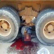 【グロ動画】トラックに目から上だけ轢かれたら・・・ ※閲覧注意
