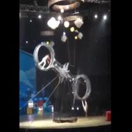 【衝撃映像】サーカスで輪の中でぐるぐる回ってると足を踏み外して・・・