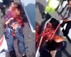 【グロ動画】車に綺麗に轢かれ過ぎて二次元になった女性・・・