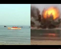 【イスラム国】ISIS処刑シリーズ 死刑囚をボートに乗せてからのミサイルで木っ端微塵に・・・