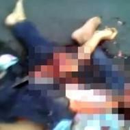 【グロ動画】トラックに轢かれた男性・・・頭部は潰され臓器は飛び出し・・・