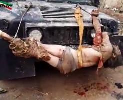 【グロ動画】人間の死体で車のデコレーションするセンスってぶっ飛んでである意味すごい・・・ ※閲覧注意