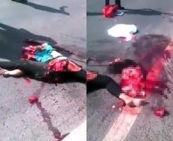 【超閲覧注意】美女がバスに轢かれる→股が裂ける→首が取れる→頭を踏み潰される・・・
