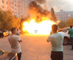 【衝撃映像】マジかよ!車が炎上したらGTAみたいに爆発したw車に火ついたらとりあえず逃げろ