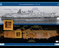 【沈没船】核実験に使ってポイー で沈められたインデペンデンス級空母を海底で発見したから映像うpする