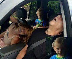 【衝撃画像】ヘロイン中毒の美人ママが交通事故した直後の子供のリアクションがホラーレベル・・・