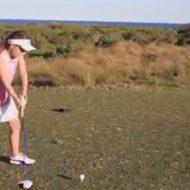 【衝撃動画】可愛い少女のゴルフ練習風景、ドローンを使ったフォームチェックのはずがwww
