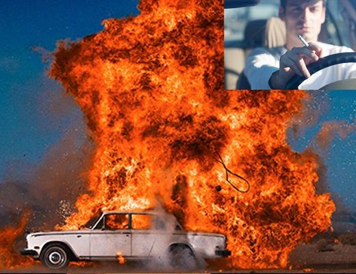 【衝撃映像】車の中でタバコ吸うやつは見とけ。車ごと棺桶になるぞ