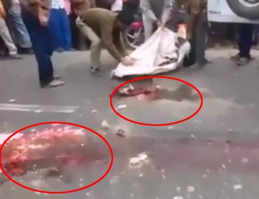 【グロ動画】完全素人が死体回収、道に肉塊落としまくる…