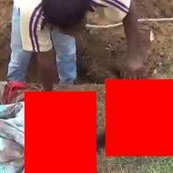 【閲覧注意】斬首殺害した死体埋隠蔽現場、女犯に掘らせてみた