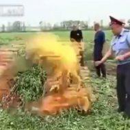 【衝撃映像】大量の大麻を押収したバカ警察さん そのまま燃やしてたら爆発してリアクションが完全オネェになってしまうハプニングw