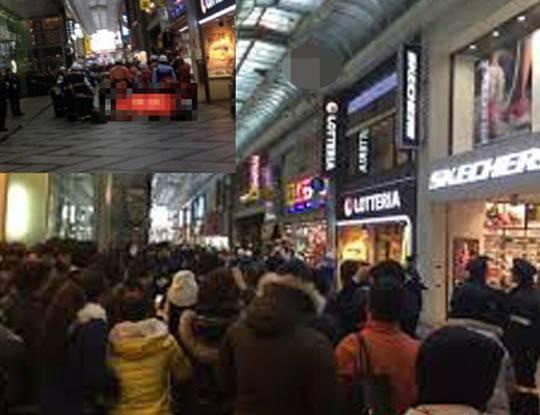 【閲覧注意】大阪心斎橋で女子高生が自殺した現場 全身を強く打ち過ぎて肉片パズルになった模様・・・※画像あり