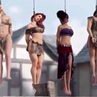 【グロ動画】際どく露出した美女達が絞首刑にされますがアニメなので安心してくださいwww