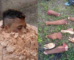 【バラバラ死体】11cutした死体の処理方法を考えたカルテルさん 取りあえず頭半分は土に埋めてなんか育つか試してみるw ※グロ画像