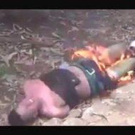 【土人国家】泥棒さんを捕まえてきてボコボコにしてから火を放って二度と歩けないようにしてやったw ※衝撃映像