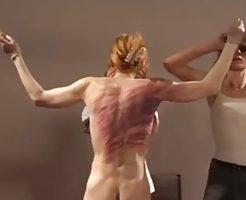 【エログロ】見てて痛い…鞭打ち刑がどんなものか美女を使って試してみた