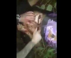 【処刑映像】首チョキーからのお腹ギコギコーで人間の内臓を取り出す殺人映像がコレ・・・ ※グロ動画