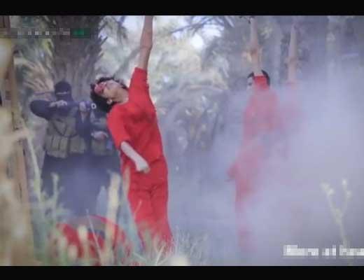 【イスラム国】6人をマシンガンでじゅばばば 最後の1人ドーンで首ギコギコギコギコするisisさんの最新処刑現場がコレ・・・ ※グロ動画