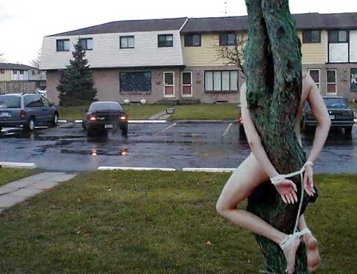 【エロ拷問】野外で全裸拘束されて興奮しまくる女の子達はこちら→これ完全に逮捕案件ですわwww ※画像あり