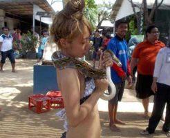 【大蛇】でかいヘビを体に巻き付けて遊んでいたマンさん おっぱい咬まれる痛恨のミスを犯すw ※衝撃動画