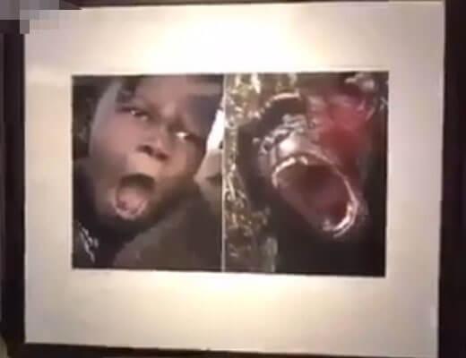 【衝撃映像】中国人「黒人と動物って見分けつかんよなwww」 美術館にとんでもない写真を展示してる模様