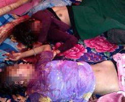 【グロ画像】若い女の子2人が犯されて殺された現場写真 乳首は丸出し状態のまま晒上げられる・・・ ※レイプ死体