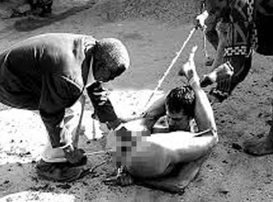 【グロ動画】レイプ目的?幼女を誘拐しようとした男性集団 無事金玉刈り取られてクッソざまぁwww