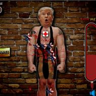 【グロゲーム】おいwコレ作った奴消されるやろwwwプーチンとトランプにダーツ投げて血まみれにするとかw