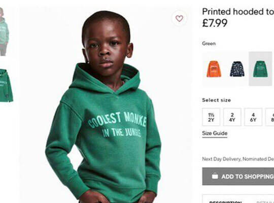 【人種差別】H&M「ジャングルで最もかっこいいサルは黒人」→抗議者ブチギレで店内が・・・