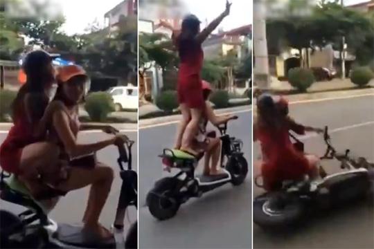【衝撃映像】バイクで2人乗りで調子乗ってた女の子達が事故る。これ足ヤバいんじゃねぇか?
