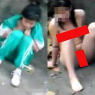 【裸いじめ】障害者の少女を全裸にして街中で股を開かせるキチガイのいじめ動画・・・ ※エログロ動画