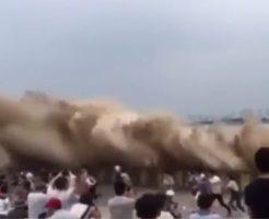 【衝撃映像】DQN:津波珍しE もっと近くで見たろ!みんなでチキンレースして波に飲まれる瞬間をご覧くださいw