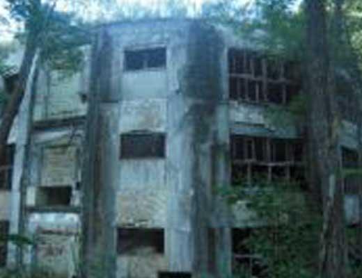 円形校舎廃墟(沼東小学校)風景写真