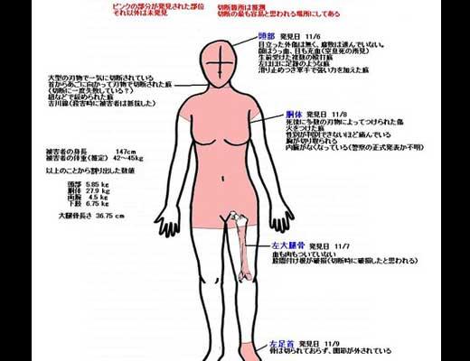 島根女子大生死体遺棄事件被害者平岡都さん遺体のイメージ