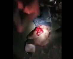 【グロ動画】生きてる人間を腹ナイフからのモツ取り出して内蔵露出中のサンドバック状態にしてやったw ※処刑映像