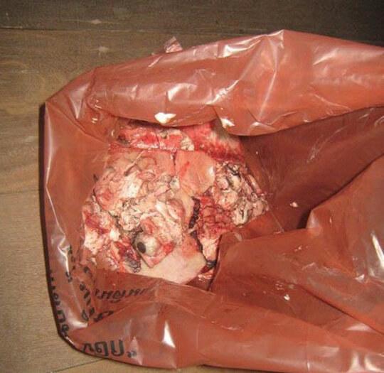 【グロ画像】部屋でショットガン自殺した結果→肉片まき散らし天井まで赤く染める・・・ ※閲覧注意09