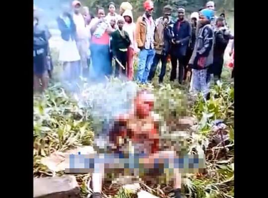 【グロ動画】ロリ子をレイプした強姦魔さん 村人たちに私刑として盛大に生きたまま燃やされるw ※焼死