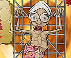 【フラッシュゲーム】黒魔術の生贄のために捕まってしまった人間の五臓六腑を解剖していくグロ系無料Flashゲーム「Operation in the Temple of Doom」