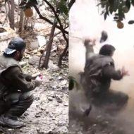 【グロ動画】手に持った手榴弾 兵士が木っ端微塵に吹き飛ぶ瞬間