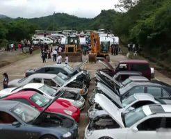 【衝撃】ポルシェ ベンツ ハーレー 6億円相当の高級車が次々と鉄クズに変わっていくイベントw