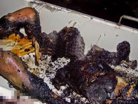 火遊びで死亡した子供の焼死体画像