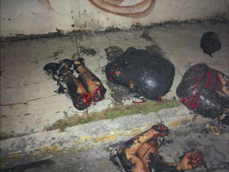 幼稚園の前に置かれた解体死体画像