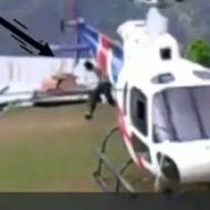 へリコプターのプロペラに一瞬で頭を粉砕される男…
