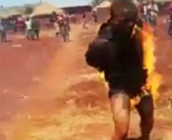 拘束され生きたまま焼かれた泥棒、全力疾走で逃げ出す!