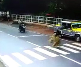 雨の中、横断歩道を渡る女性が二人乗りのバイクに…